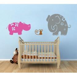 สติกเกอร์ติดผนัง ภาพ Elephant and Friends Wall Sticker (WD-0057)
