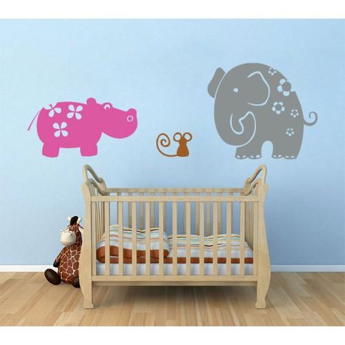 สติกเกอร์ติดผนัง ภาพ Elephant and Friends Wall Sticker