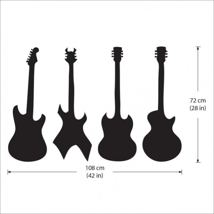 Four Guitar Vinyl Wall Art Decal