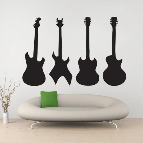 สติกเกอร์ติดผนัง ภาพ four guitar Wall Tattoo