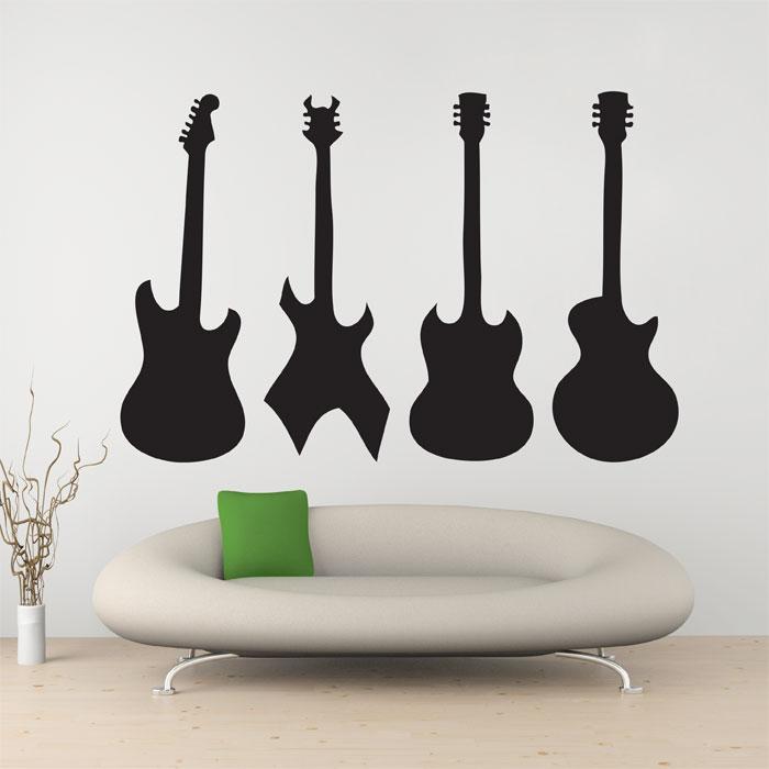 Four Guitar Vinyl Wall Art Decal