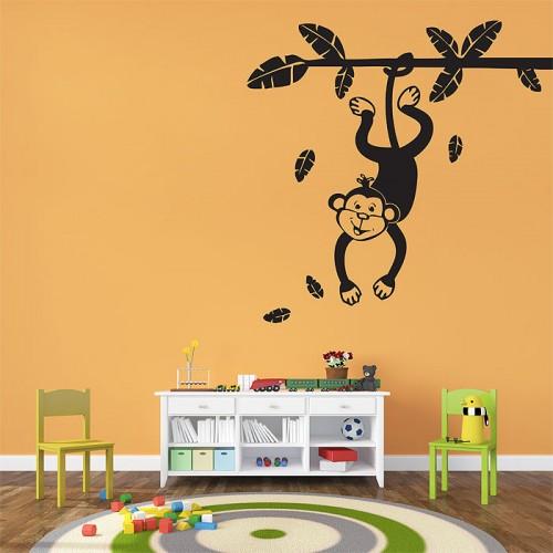 สติกเกอร์ติดผนัง ลิงโหนต้นไม้ Monkey Swinging From a Branch Wall Sticker