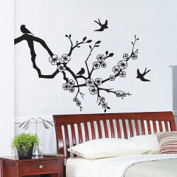 Birds on Cherry Blossom Vinyl Wall Art Decal (WD-0067)