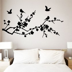 Birds Fly on Cherry Blossom Vinyl Wall Art Decal (WD-0070)
