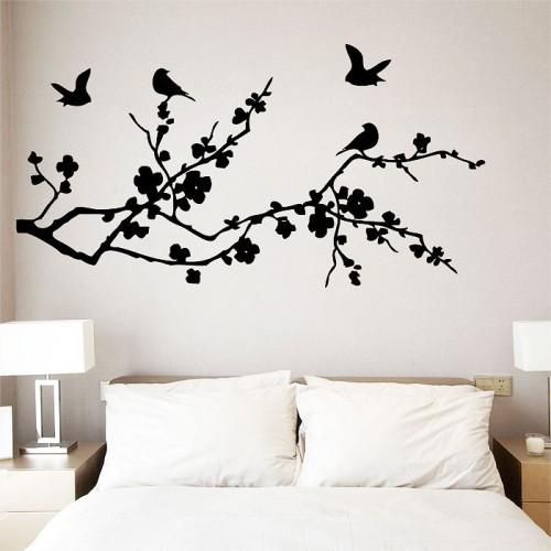 สติกเกอร์ติดผนัง Birds Fly on Cherry Blossom Wall Sticker