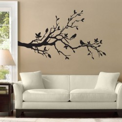 Birds on Cherry Blossom Branch Vinyl Wall Art Decal (WD-0073)