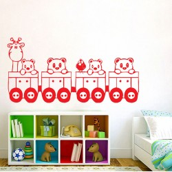 Cute Train with Animal Vinyl Wall Art Decal (WD-0079)