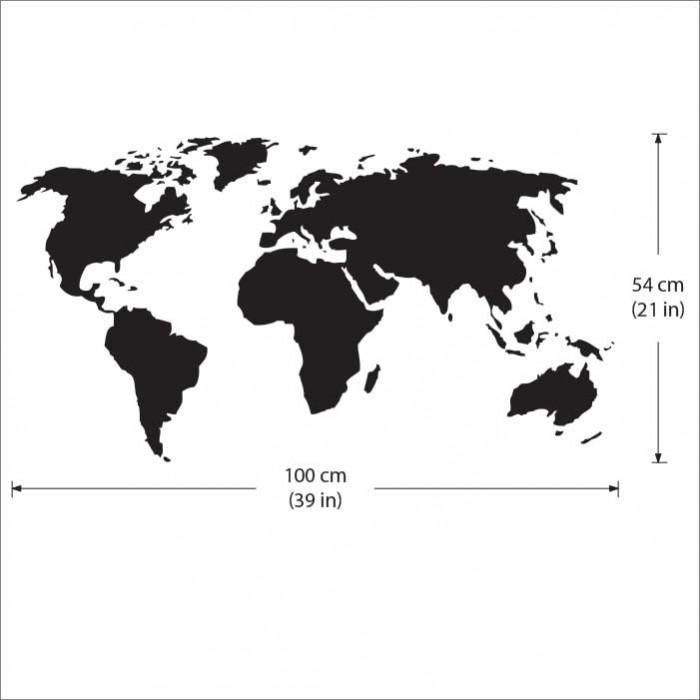 World Map Vinyl Wall Art Decal Part 46