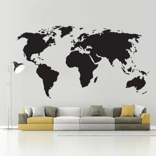 Superb World Map Vinyl Wall Art Decal Part 28