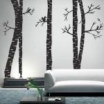 สติกเกอร์ติดผนัง Birch Tree Forest with Birds Wall Sticker