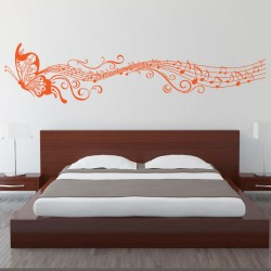 Butterfly Music Note Vinyl Wall Art Decal (WD-0105)