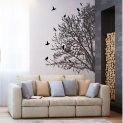 สติกเกอร์ติดผนัง ภาพ  Tree Branch With Birds 2  Wall Art  (WD-0114)
