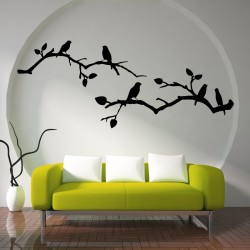 Cherry Blossom wiith Birds Vinyl Wall Art Decal (WD-0122)
