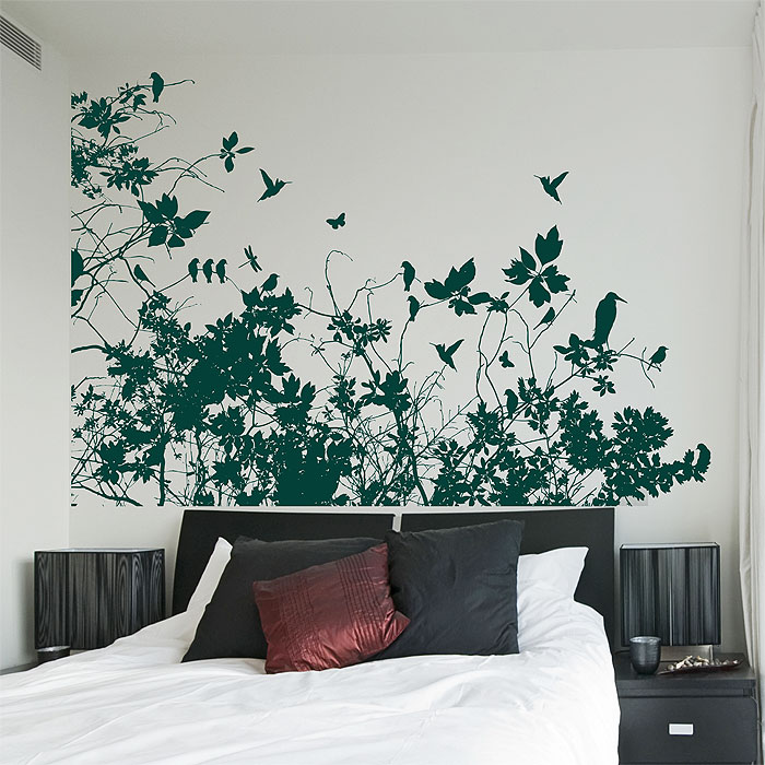 & Tree Branch with Birds Vinyl Wall Art Decal