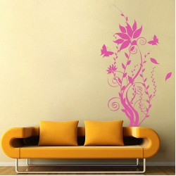 Swirl Tree with Butterfly Vinyl Wall Art Decal (WD-0129)