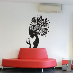Flower Lady Vinyl Wall Art Decal (WD-0133)