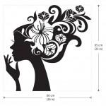 สติกเกอร์ติดผนัง ภาพ Lady Flower Head Wall Sticker