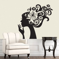 Lady Flower Head Vinyl Wall Art Decal (WD-0139)
