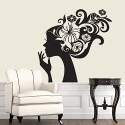 สติกเกอร์ติดผนัง ภาพ Lady Flower Head Wall Sticker (WD-0139)