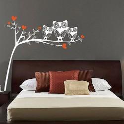 สติกเกอร์ติดผนัง ภาพ Owls On Tree Branch  Wall Sticker (WD-0140)