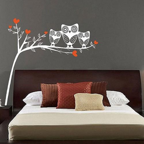 สติกเกอร์ติดผนัง ภาพ Owls On Tree Branch Wall Sticker