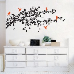 Cherry Blossom Branch with Birds Vinyl Wall Art Decal (WD-0141)