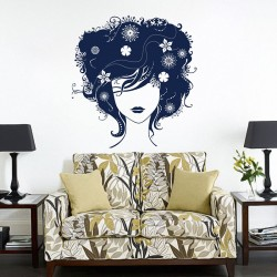 Beautiful Hair Lady Vinyl Wall Art Decal (WD-0144)