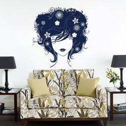 สติกเกอร์ติดผนัง ภาพ Beautiful Hair Lady  Wall Sticker (WD-0144)