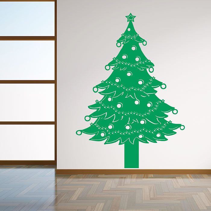 Merveilleux Christmas Tree Lights Vinyl Wall Art Decal
