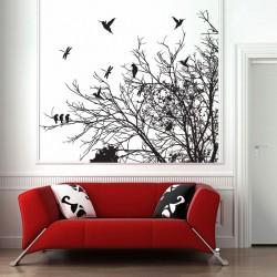 สติกเกอร์ติดผนัง ภาพ Tree Branch with Birds and Dragonfly Wall Art  (WD-0153)