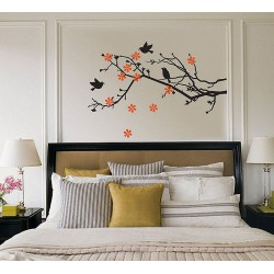 Cherry Blossom with Birds Vinyl Wall Art Decal (WD-0155)