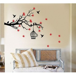 สติกเกอร์ติดผนัง Tree Branch Blossoms with Birds and Birdcage Wall Sticker (WD-0157)