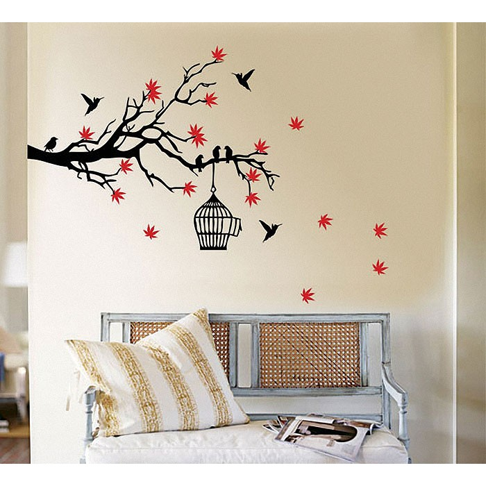 Tree Branch Blossoms With Birds And Birdcage Wall Art Decal