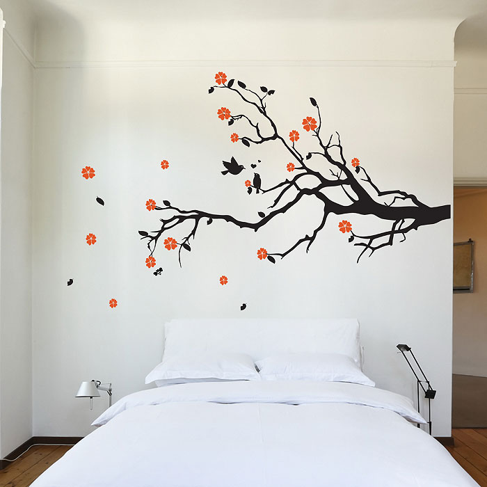 Captivating Cherry Blossom Tree Branch With Birds Vinyl Wall Art Decal (WD 0159)