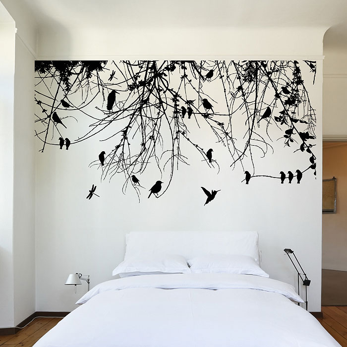 Dragonfly Wall Art branch with birds and dragonfly vinyl wall art decal