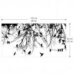 สติกเกอร์ติดผนัง ภาพ Tree Branch with Birds and Dragonfly Wall Decal