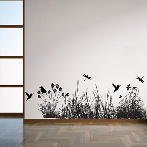 สติกเกอร์ติดผนัง Grass with Animals Wall Sticker