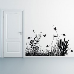Flower,Grass and Butterfly Vinyl Wall Art Decal (WD-0169)