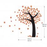 สติกเกอร์ติดผนัง Orange Flower Tree Wall Sticker