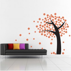Orange Flower Tree Vinyl Wall Art Decal (WD-0170)