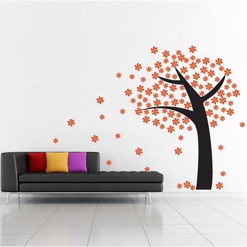 Orange Flower Tree Vinyl Wall Art Decal