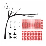 Red Flower Tree with Birds Vinyl Wall Art Decal