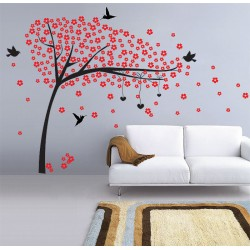 Red Flower Tree with Birds Vinyl Wall Art Decal (WD-0172)