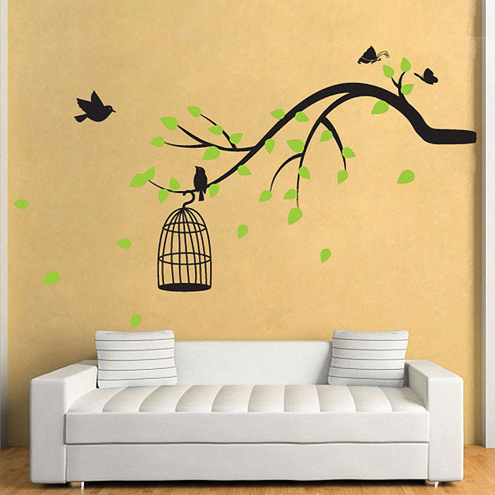 tree branch with birds,butterfly vinyl wall art decal