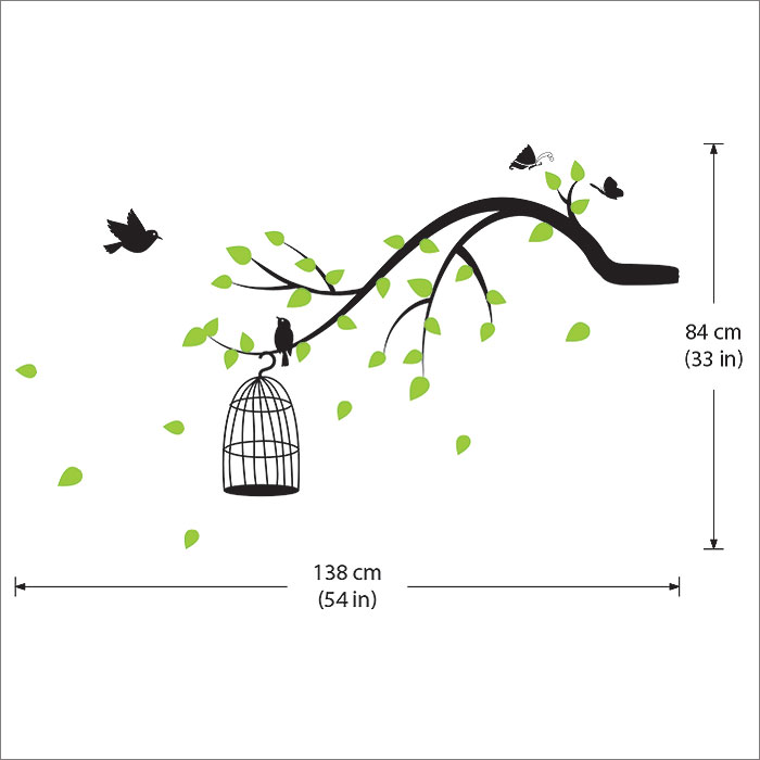 83961e2314 ... Tree Branch With Birds,Butterfly Vinyl Wall Art Decal