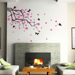 สติกเกอร์ติดผนัง Cherry Blossom Branch with Butterflies Wall Sticker (WD-0176)