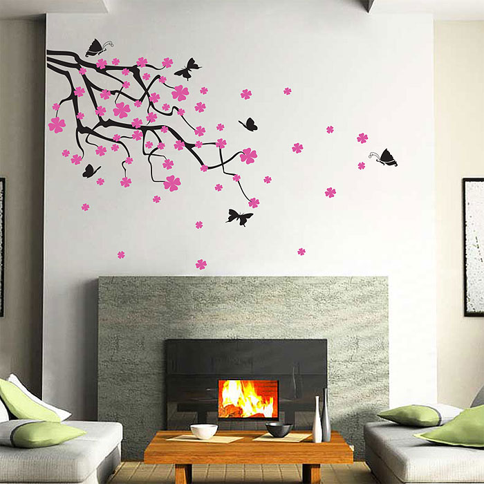 Branch Wall Art tree branch blossoms with birds and birdcage wall art decal