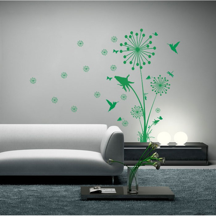 dandelions floral and birds floral vinyl wall art decal