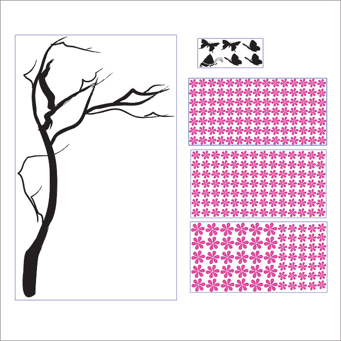 Wall Art Decals Cherry Blossom : Cherry blossom tree with butterfly vinyl wall art decal