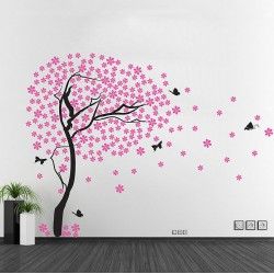 Cherry Blossom Tree with Butterfly Vinyl Wall Art Decal (WD-0178)